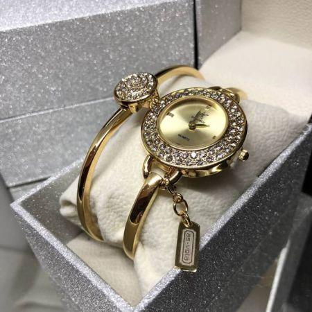 209 นาฬิกาข้อมือผู้หญิงAs-Vela setพร้อมกล่อง+กำไรข้อมือ สีทอง