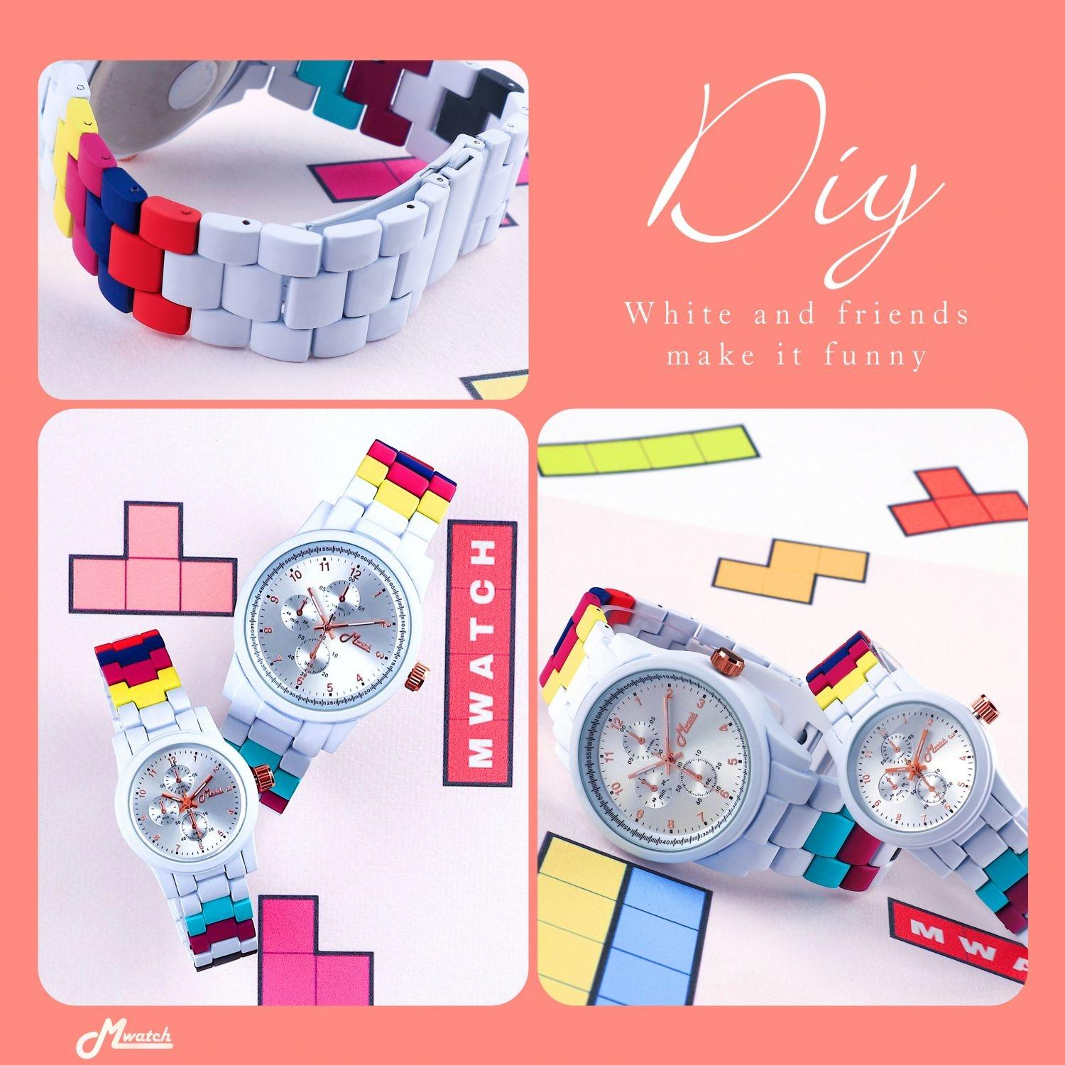 Mwatch 365 series White D.I.Y couple watch นาฬิกาสลับสี