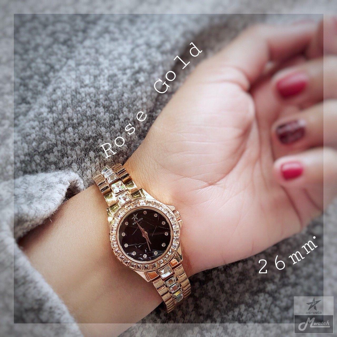 272 นาฬิกาข้อมือผู้หญิงหน้าปัดหินแท้ สีPink Gold