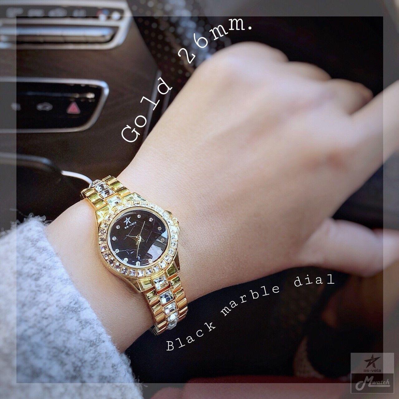 271 นาฬิกาข้อมือผู้หญิงหน้าปัดหินแท้ สีทอง