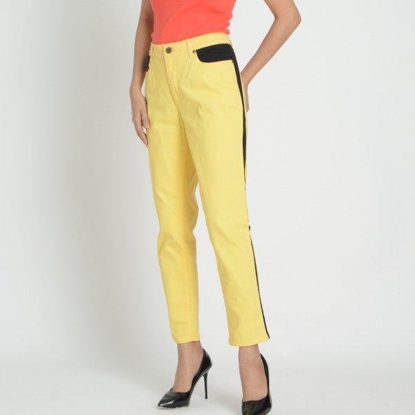 GSP จีเอสพี กางเกงขายาว สีเหลือง แต่งขอบด้านข้างสีดำ P953YE