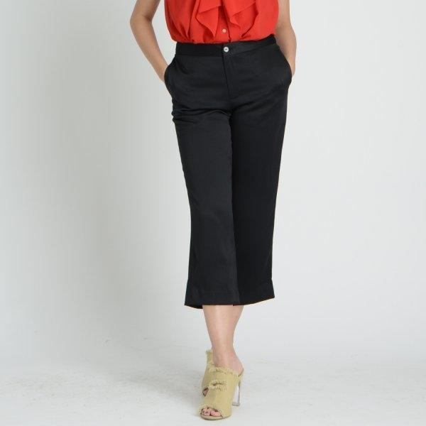 GSP จีเอสพี กางเกงทำงาน ผ้าเครปทวิล สีดำ ขาห้าส่วน ทรงขากระบอก SL3XBL