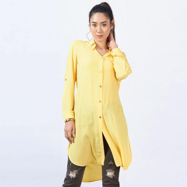 GSP จีเอสพี เสื้อชีฟอง สีเหลือง ตัวยาว ผ่าข้าง SS2CYE