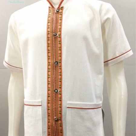 เสื้อผ้าฝ้ายชายคอจีน-แขนสั้น-สีขาว