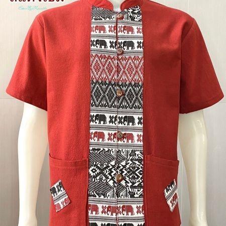 เสื้อผ้าฝ้ายคอจีน-แขนสั้น-สีแดงเข้ม