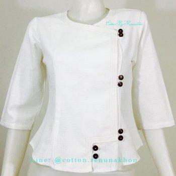 เสื้อผ้าฝ้ายผู้หญิง-คอกลม-สีขาว