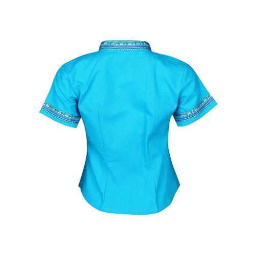 เสื้อผ้าฝ้ายซินมัย-สีฟ้า
