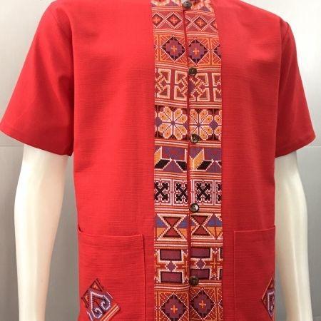 เสื้อผ้าฝ้ายพิมพ์ลายชายคอจีน-สีแดง