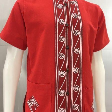 เสื้อผ้าฝ้ายแต่งเชือก-ลายก้นหอย-สีแดง