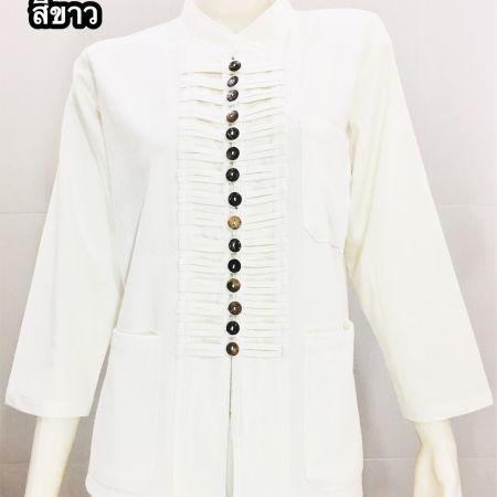 เสื้อผ้าฝ้าย-ชาย/หญิง -สีขาว