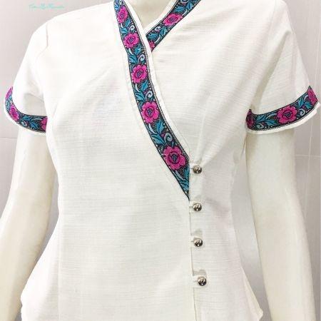 เสื้อผ้าฝ้ายผซินมัย-สีขาว