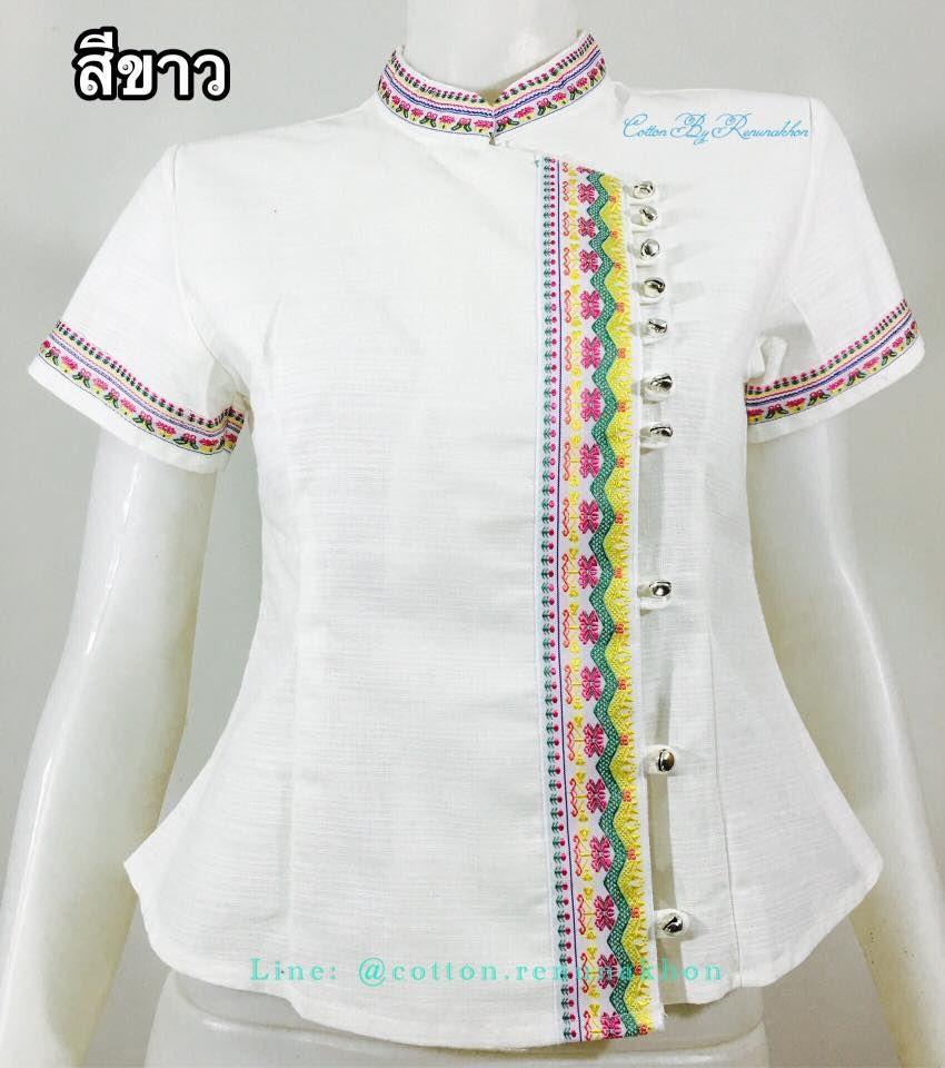 ผ้าฝ้ายซินมัยแต่งผ้าทอ-สีขาว