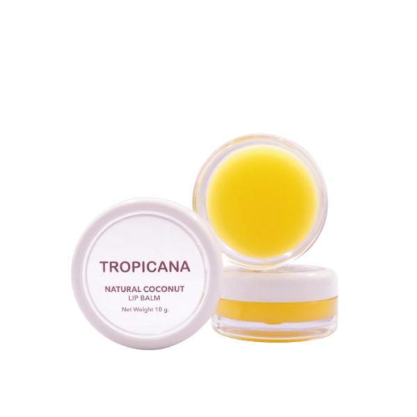 ลิปบาล์มบำรุงริมฝีปากน้ำมันมะพร้าว Tropicana สูตร NON PRESERVATIVE กลิ่น BANANA HAPPY ขนาด 10 G
