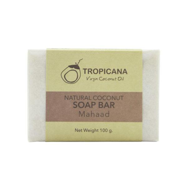 สบู่ก้อนน้ำมันมะพร้าว Tropicana สูตร NON PRESERVATIVE กลิ่น MAHAAD ขนาด 100 G