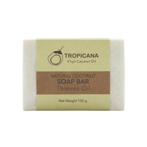 สบู่ก้อนน้ำมันมะพร้าว Tropicana สูตร NON PRESERVATIVE กลิ่น THIEVES OIL ขนาด 100 G