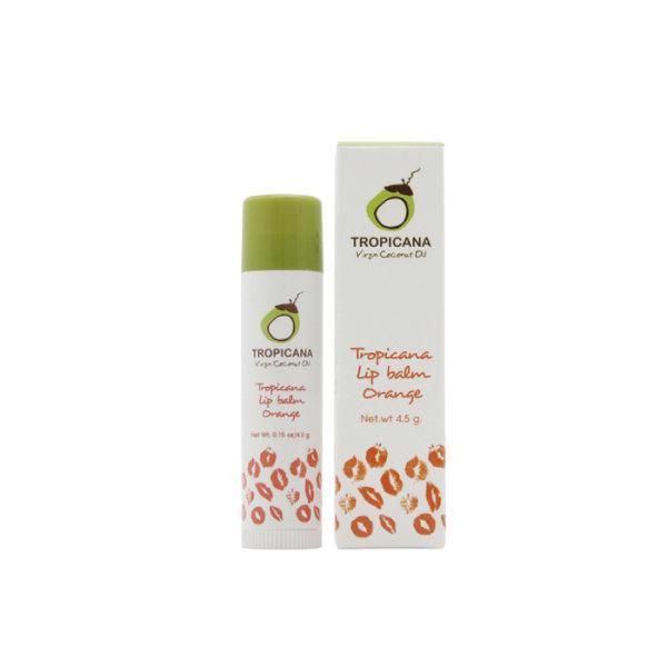 ลิปบาล์มบำรุงริมฝีปากน้ำมันมะพร้าวแบบแท่ง Tropicana สูตร NON PRESERVATIVE กลิ่น ORANGE ขนาด 4.5 G