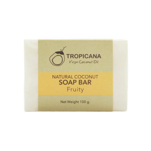 สบู่ก้อนน้ำมันมะพร้าว Tropicana สูตร NON PRESERVATIVE กลิ่น FRUITY ขนาด 100 G