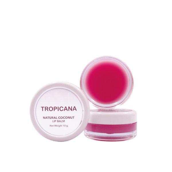 ลิปบาล์มบำรุงริมฝีปากน้ำมันมะพร้าว Tropicana สูตร NON PRESERVATIVE กลิ่น POMEGRANATE JOYFUL ขนาด 10 G
