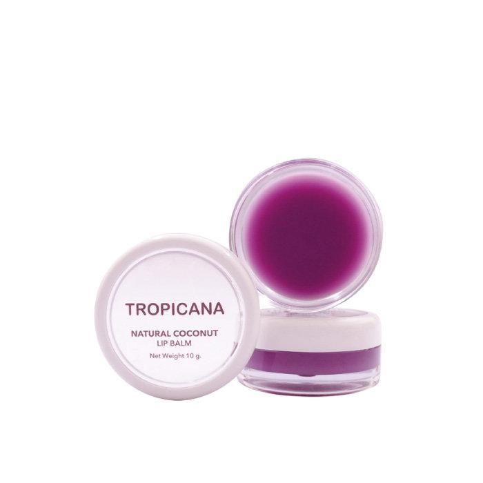 ลิปบาล์มบำรุงริมฝีปากน้ำมันมะพร้าว Tropicana สูตร NON PRESERVATIVE กลิ่น MULBERRY CHEERFUL ขนาด 10 G