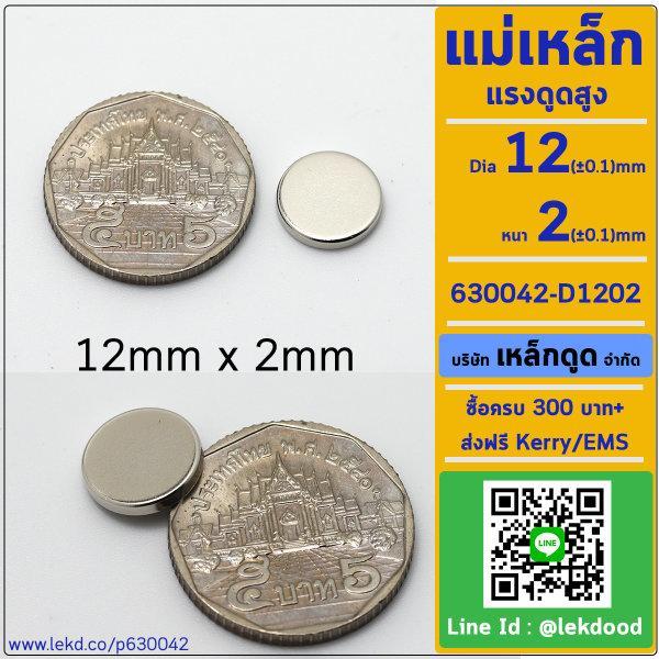 LDPF3s_0.579_KgF แม่เหล็กแรงสูง ขนาด 12mm x 2mm รหัส 630042-D1202