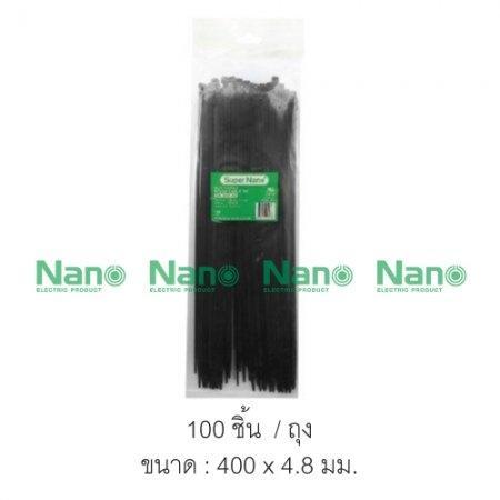 Cable tie  NANO 400x4.8 สีดำ ถุง-100ชิ้น   (100 ชิ้น/ถุง, 3,000 ชิ้น/กล่อง) SN-400-4B