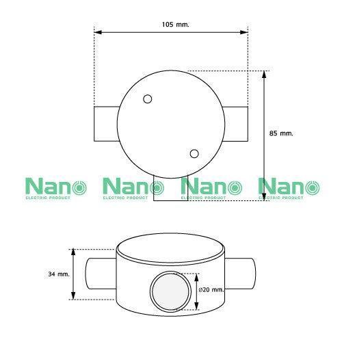 กล่องพักสาย3ทาง NANO สีขาวสำหรับท่อตรง20มม.(พร้อมแผ่นปิด+สกรู) (20 ชิ้น/กล่อง) NNJB-3/20