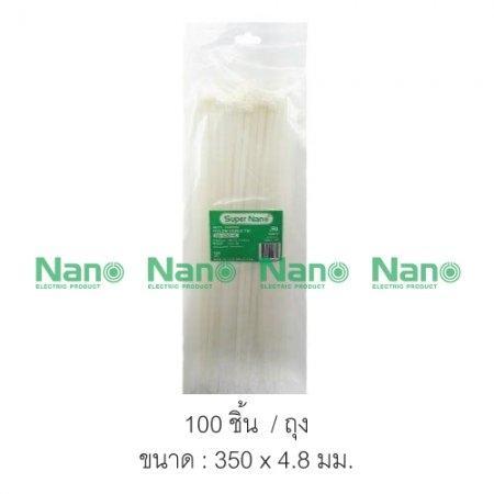 Cable tie  NANO 350x4.8 สีขาว ถุง-100ชิ้น  (100 ชิ้น/ถุง, 3,500 ชิ้น/กล่อง) SN-350-4C
