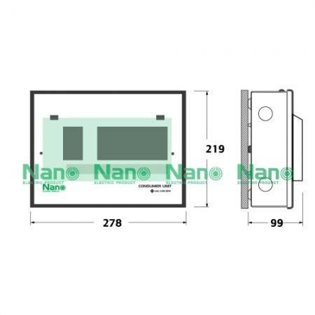 ตู้คอนซูมเมอร์ยูนิต NANO 8 ช่อง(ปลั๊กออน) MCB 63A+ลูกย่อย8ลูก (1 ชิ้น / 10 ชิ้นต่อกล่อง) PCM08-63B