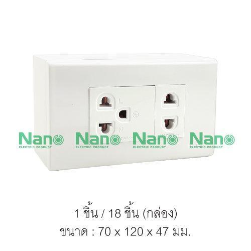 ชุดฝา NANO 3ช่อง 1ปลั๊ก 1ปลั๊กกราวด์เดี่ยวและบล็อกลอยขนาด 2*4 ( 1 ชิ้น / 18 ชิ้นต่อกล่อง ) CS25-bw