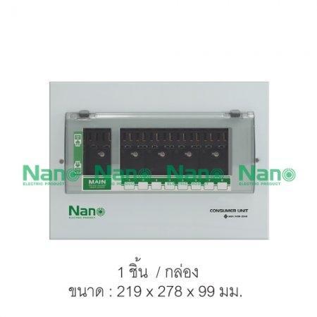 ตู้คอนซูมเมอร์ยูนิต NANO (ปลั๊กออน)เมน+ลูกย่อย8ช่อง(ตู้เปล่า) (1 ชิ้น / 10 ชิ้นต่อกล่อง) PCU08
