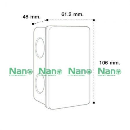 """กล่องพักสายแบบมิล NANO  2x4"""" สีขาว (50 ชิ้น / กล่อง) NANO-24M"""