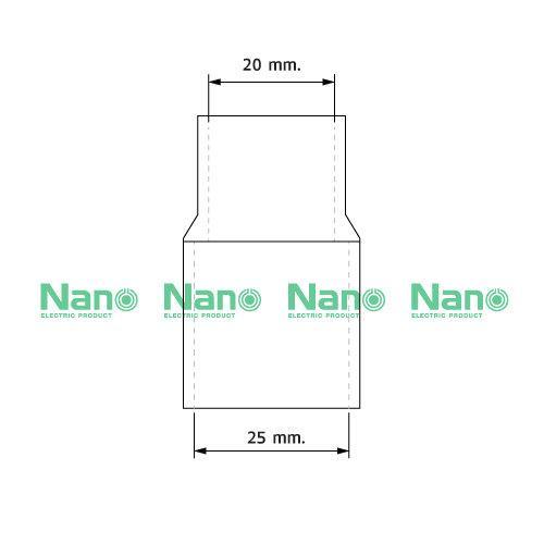 ข้อต่อตรงลดขนาด NANO 25/20 มม.  (100 ชิ้น/กล่อง) NNRC-25/20