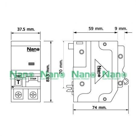 เซอร์กิตเบรกเกอร์กันดูด ปลั๊กออน NANO 2Pole 63A 10kA 30mA (1 ชิ้นต่อกล่อง) NR2C63