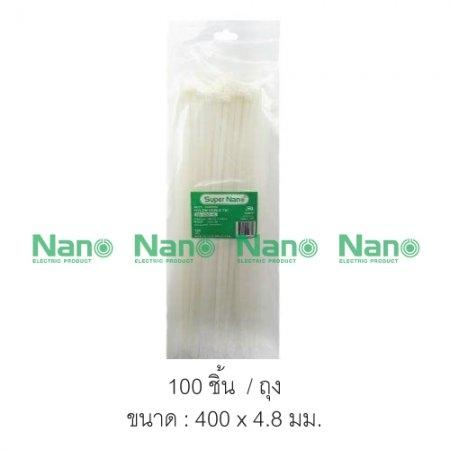 Cable tie  NANO 400x4.8 สีขาว ถุง-100ชิ้น  (100 ชิ้น/ถุง, 3,000 ชิ้น/กล่อง) SN-400-4C