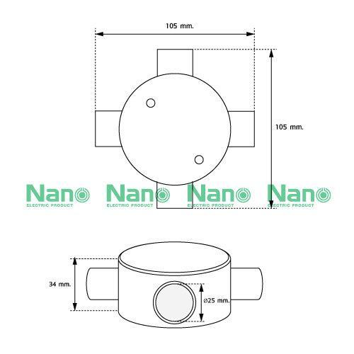 กล่องพักสาย4ทาง NANO สีขาวสำหรับท่อตรง25มม.(พร้อมแผ่นปิด+สกรู) (20 ชิ้น/กล่อง) NNJB-4/25