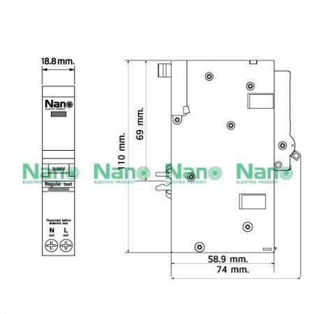 เซอร์กิตเบรกเกอร์กันดูด ปลั๊กออน NANO 1Pole 32A 6kA 30mA (1 ชิ้นต่อกล่อง) NR1C32