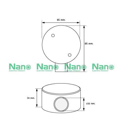 กล่องพักสาย1ทาง NANO สีขาวสำหรับท่อตรง20มม.(พร้อมแผ่นปิด+สกรู) (20 ชิ้น/กล่อง) NNJB-1/20