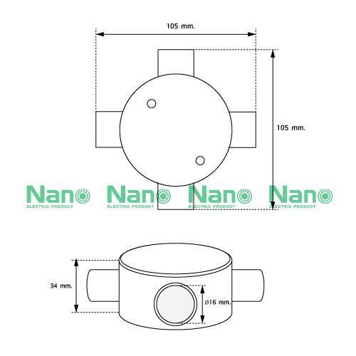 กล่องพักสาย4ทาง NANO สีขาวสำหรับท่อตรง16มม.(พร้อมแผ่นปิด+สกรู) (20 ชิ้น/กล่อง) NNJB-4/16