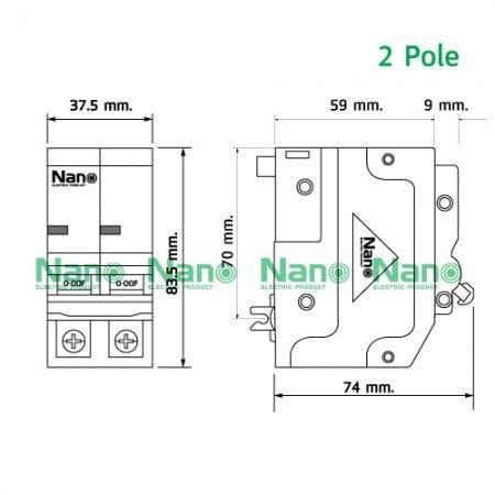 เซอร์กิตเบรกเกอร์ ปลั๊กออน NANO (Plug-on) 2Pole 50A 10kA (1 ชิ้น / 6 ชิ้นต่อกล่อง) NP2C50