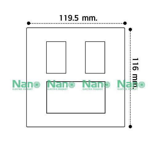 """หน้ากากขอบเหลี่ยม 4x4""""(ดำ) 5ช่อง  (80 ชิ้นต่อกล่อง)   NANO-400-23B"""