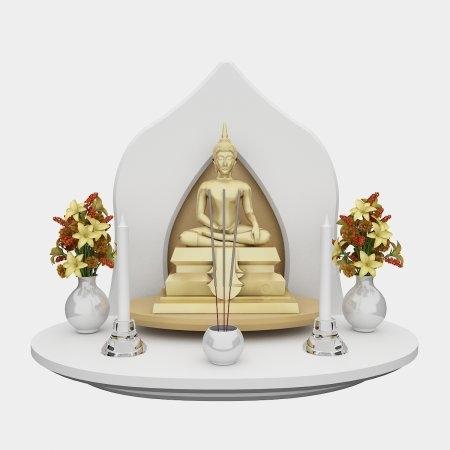 หิ้งพระ Grand Buddha Shelf White