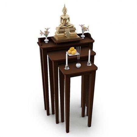 โต๊ะไตร สามชั้นใช้วางพระ Tri Table Espresso