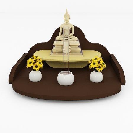 หิ้งพระแบบถาดขนาดเล็ก Mini Buddha Tray สี Espresso