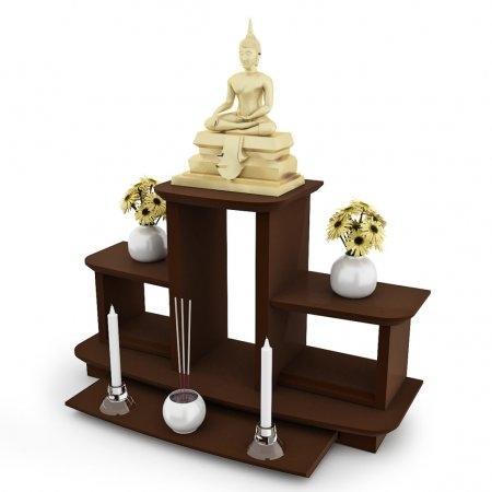 หิ้งพระหมู่ 3 Buddha Shelf สี Espresso