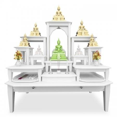 โต๊ะหมู่บูชาหมู่ 11 Buddha Supreme White