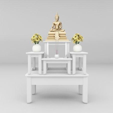 โต๊ะบูชาซีรี่ส์ 5 Buddha Series 5 White