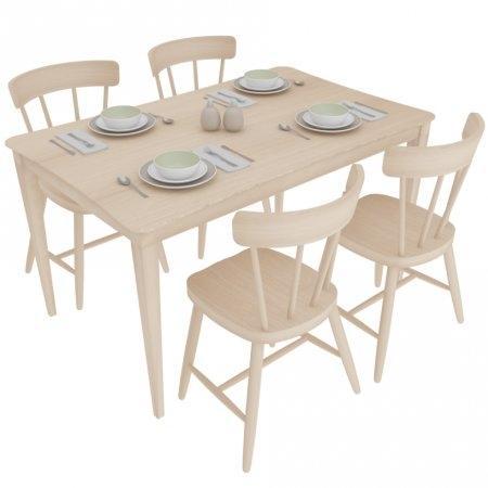 โต๊ะ Zoro L-ขอบเว้า & เก้าอี้ Breeze Ww 4 ที่นั่ง