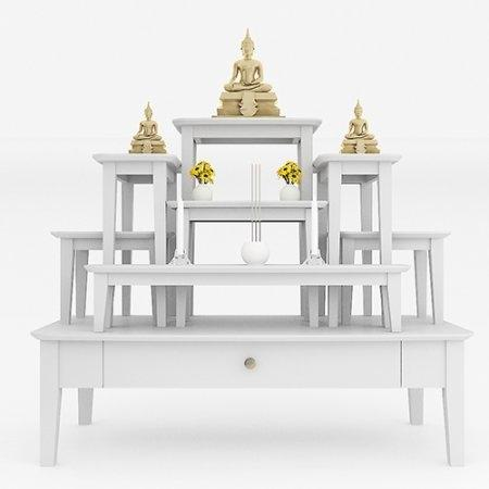 โต๊ะหมู่บูชาหมู่ 7 Buddha Stand White