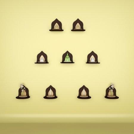 Set 9 Mini Buddha Shelf 9 ตัว สี Espresso