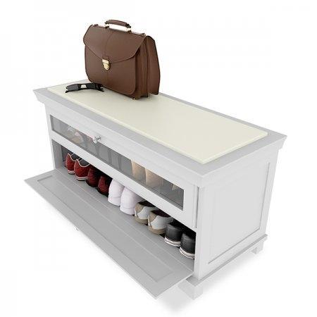 ตู้รองเท้า Hall Bench & Shoes Cabinet สีขาว White